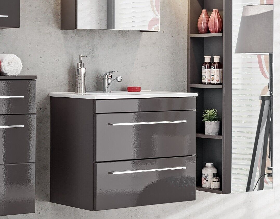 Details about Grey Gloss Bathroom 3mm Vanity Sink Basin Wall Hung Cabinet  Drawers Unit Twist