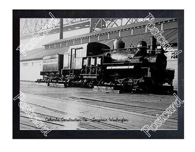 Historic Columbia Construction Co. - Longview, Washington Train Postcard