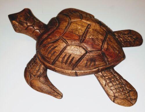Wood Turtle HAND CARVED Sea Turtle