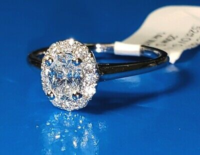 Natural OVAL Diamond G-VS1 GIA Halo 14k W Gold Engagement Ring .72 ctw Sz 6.5  8