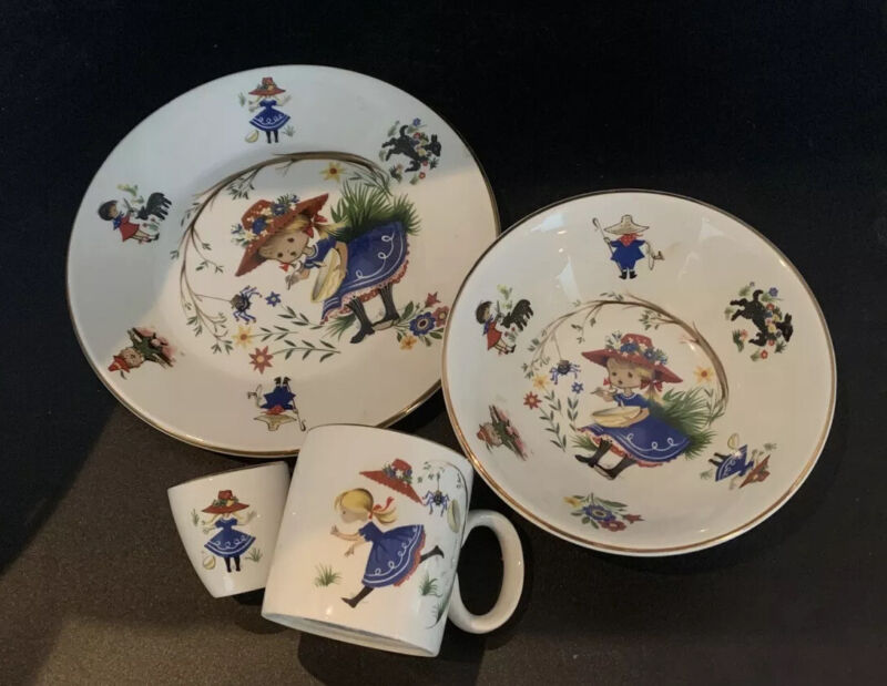 ARKLOW Republic of Ireland Nursery Rhyme Miss Muffet Childs Plate Bowl Cup Egg