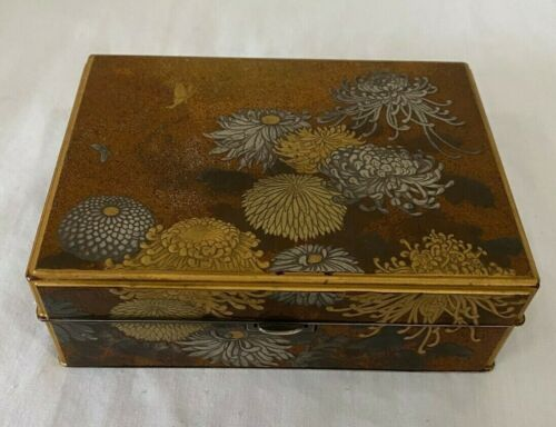 ANTIQUE JAPANESE 950 SILVER GOLD LAQUER INLAID JEWELRY BOX HIGH QUALITY RARE