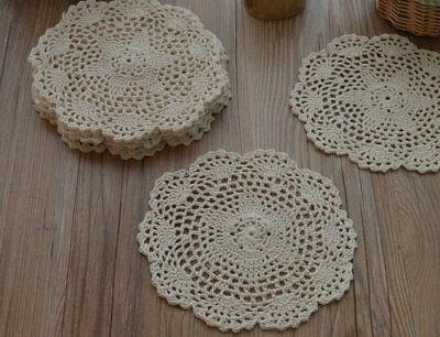 "Dozen 8"" Round Cream Hand Crochet Doilies Coasters Lot"