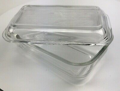 ARC FRANCE Clear Glass Butter Cheese DISH & Ribbed LID Refrigerator -