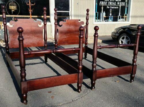 Antique Solid Mahogany Twin Beds~ 2 Beds~ Original~ Circa 1910~ We Ship!
