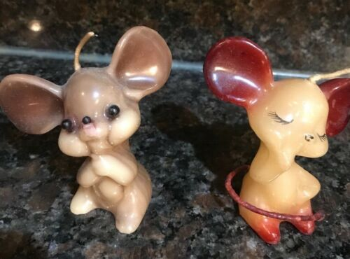 """2 Vintagel Wax Candle 3"""" Mice Mouse ~ Both have cute faces"""