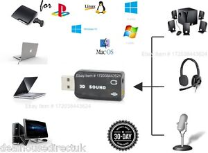 USB TO 3.5mm JACK PC Headset MIC ADAPTER Sound CONVERTER for PS3 Slim PC Macbook
