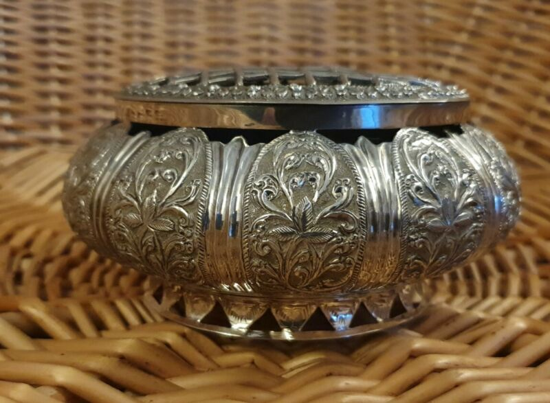 Antique Silver (tested ) Decorative Posy Rose Bowl Vase ~ 280g