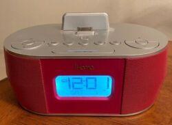 IHOME ID38 PINK ALARM CLOCK DOCKING STATION AUDIO IPOD USED  WORKS GREAT