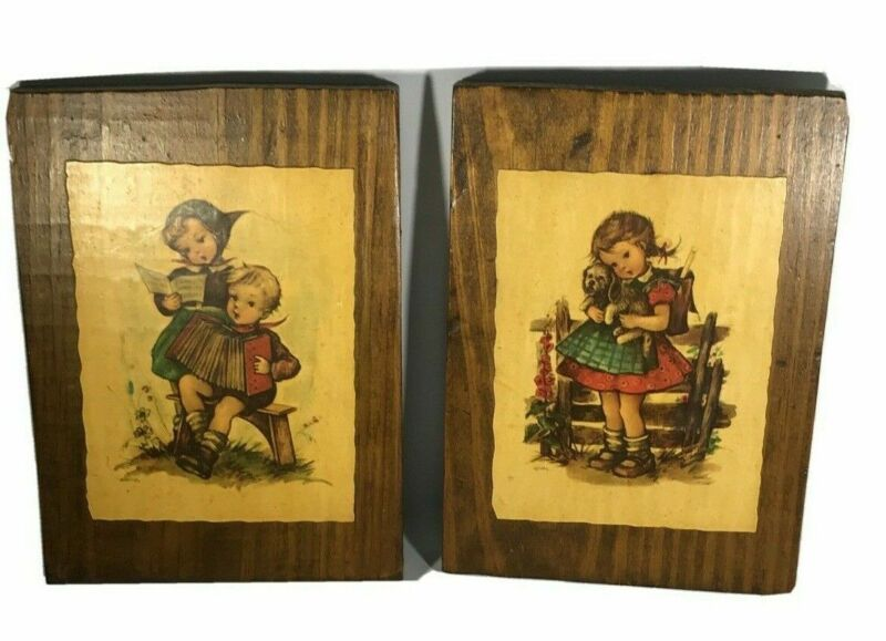 Hummel Wood Plaques 2 Vintage with Children, Accordion, Girl, Fence, Dog Brown