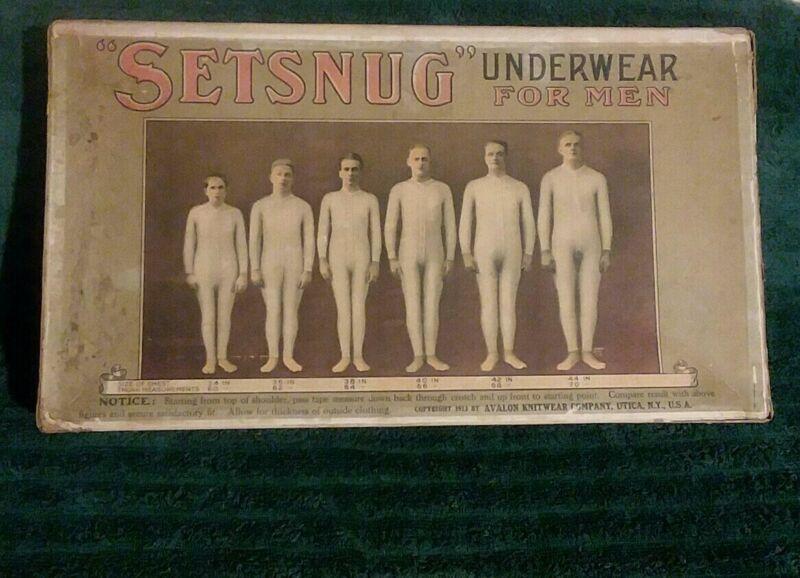 Antique 1915 Setsnug Mens Underwear Box Sign RARE!