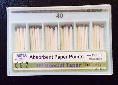 40 Dental Absorbent Paper Points .06 Special Taper 10 X 60 Pts Pack By Meta