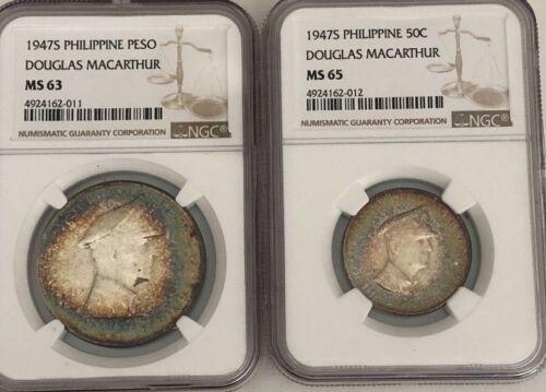 1947-S PHILLIPINE DOUGLAS MACARTHUR MS-65 50 CENT & MS-63 PESO