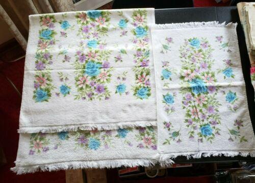 Vintage MCM blue pink green floral 2 Bath Towels 1 Hand Towel