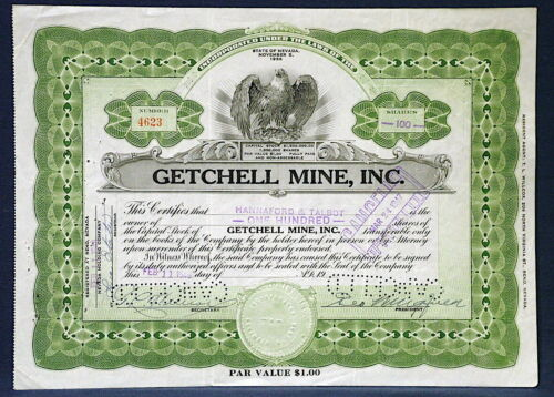 GETCHELL MINE STOCK CERTIFICATE, Famous Gold Mine NEVADA George Wingfield 1954