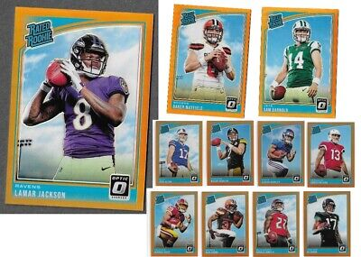 2018 optic football COMPLETE ORANGE REFRACTOR SET #'d to 199 incredibly rare !!!