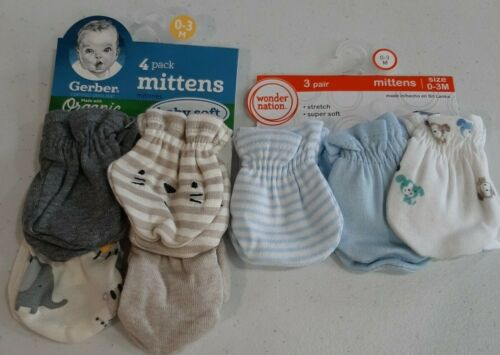 Gerber Wonder Nation Baby Boys 7 Pack Mittens NEW Size 0-3 Months Safari, Puppy