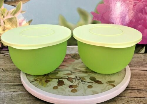 Tupperware Impressions SET OF 2 Lime Green 1.3L Bowl with Lid