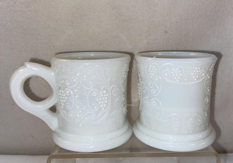 Vtg 2pc Antique 1890's Milk Glass Mini Child's Tea Set Coffee Mug Tankard Cups