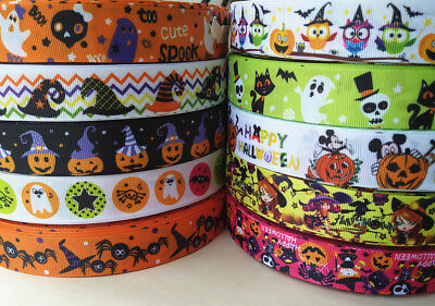22/25mm Printed Cartoon Halloween Owl Pumpkin Ghost Grosgrain Ribbon DIY Craft](Cartoon Halloween Pumpkins)