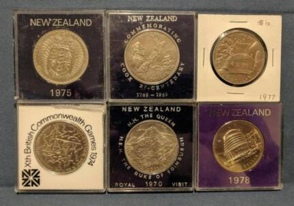 Lot of 6 New Zealand one dollar coins