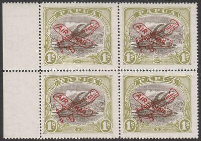 Papua 1930 KGV Airmail Overprint 1sh Block of 4 Mint SG120