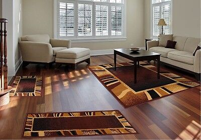 Floor Rugs 3 Piece Set Living Room Big Area Floor Mat Runner Scatter Brown Tan