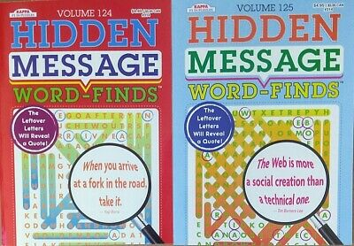 2 Word Finds Hidden Message  Search Puzzle and Activity Books Volumes 124-125
