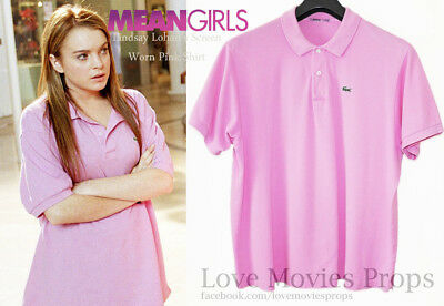 Mean Girls Lindsay Lohan Screen Worn Pink Shirt Movie Costume Prop So Fetch](Mean Girls Costume)