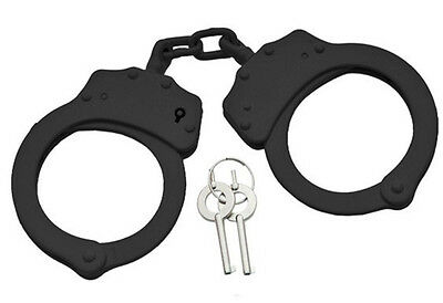 Professional Black Handcuffs steel Police duty double lock with keys