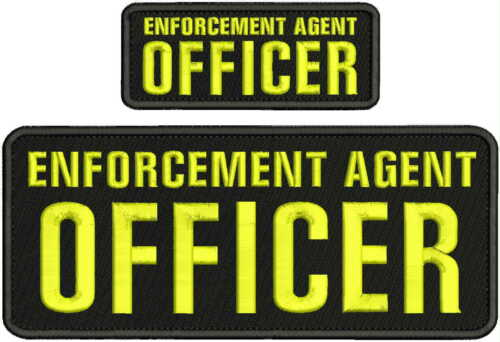ENFORCEMENT AGENT OFFICER embroidery Patches 4x10 and 2x5 hook on back