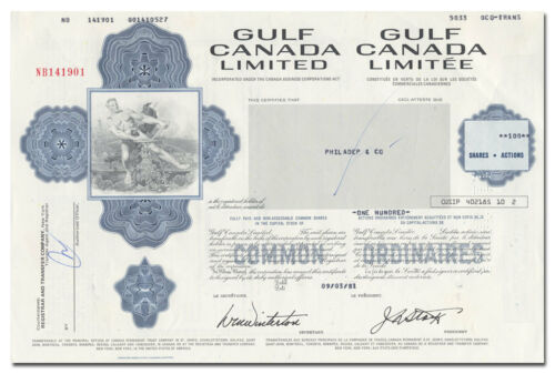 Gulf Canada Limited Stock Certificate
