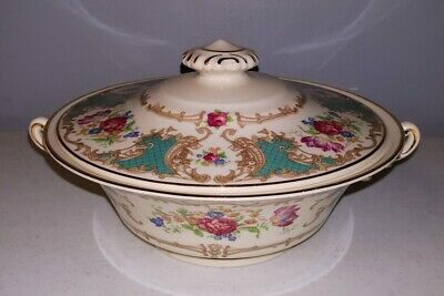COVERED VEGETABLE BOWL SYRACUSE CHINA OLD IVORY ROMANCE GREEN PATTERN Green Covered Vegetable Bowl
