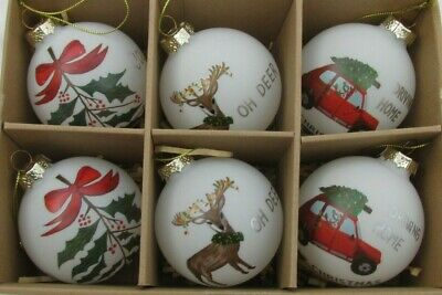 MARKS AND SPENCER SET OF 6 GLASS HANDCRAFTED BAUBLE TREE DECORATIONS  ()
