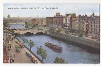 O'Connell Bridge & River Liffey Dublin Ireland Vintage Postcard 812b