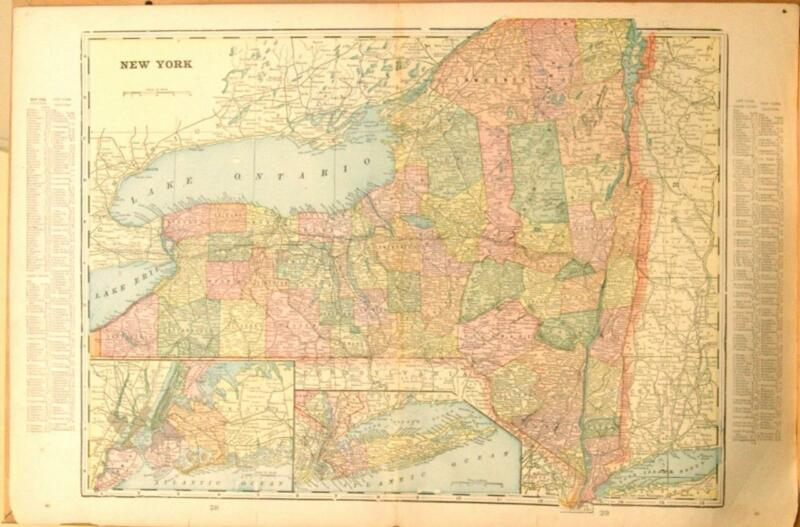 Original 1899 New York State Large Color Map/15x22