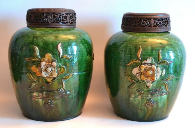 Pair of Antique 19th Century Chinese Pottery Vases with Wooden Covers