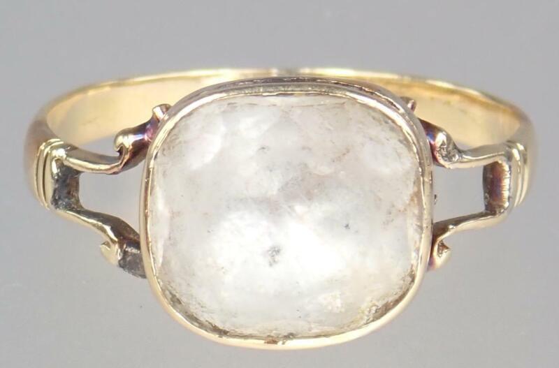 Gorgeous Antique Georgian 15K Gold Foiled Rock Crystal Ring Circa 1750 Size 6.5