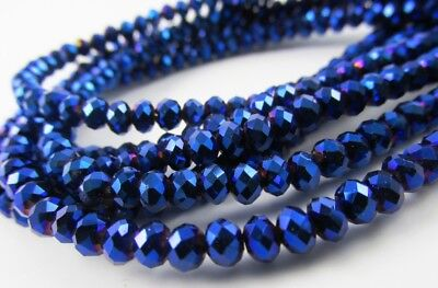 10 Mm Faceted Glass - Glass Rondelle Faceted Metallic Blue loose beads spacer AAA 4mm 6mm 8mm 10mm