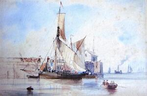 19TH CENTURY WATERCOLOUR SAILING SHIP LOADING/UNLOADING AT HARBOURSIDE