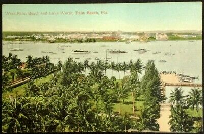 Palm Beach  Florida Postcard Vtg Early 1900s Lake Worth Boats Docks Front Yacht  for sale  Griffin