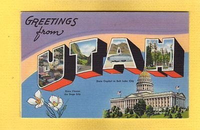 Greetings from UTAH in large letters, linen view, Tichnor 1940 data
