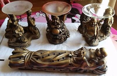 Boodah LOT of (4) Items (3)Tealight Candle Holder Set with (1) Insense Burner