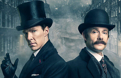 "BBC SHERLOCK TV Series Imported 17"" X 11"" Poster Print - Holmes & Watson 1890's"