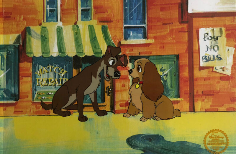 """Disney """"Lady And The Tramp"""" LIMITED EDITION Serigraph Cel"""