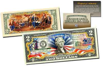 July 4th Independence Day * 2-Sided * Offical Genuine Legal Tender $2 U.S. Bill