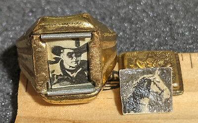 1940s Jewelry Styles and History RARE 1940s Lone Ranger Secret Compartment Army Ring w/ Both Photos Radio Premium $179.95 AT vintagedancer.com