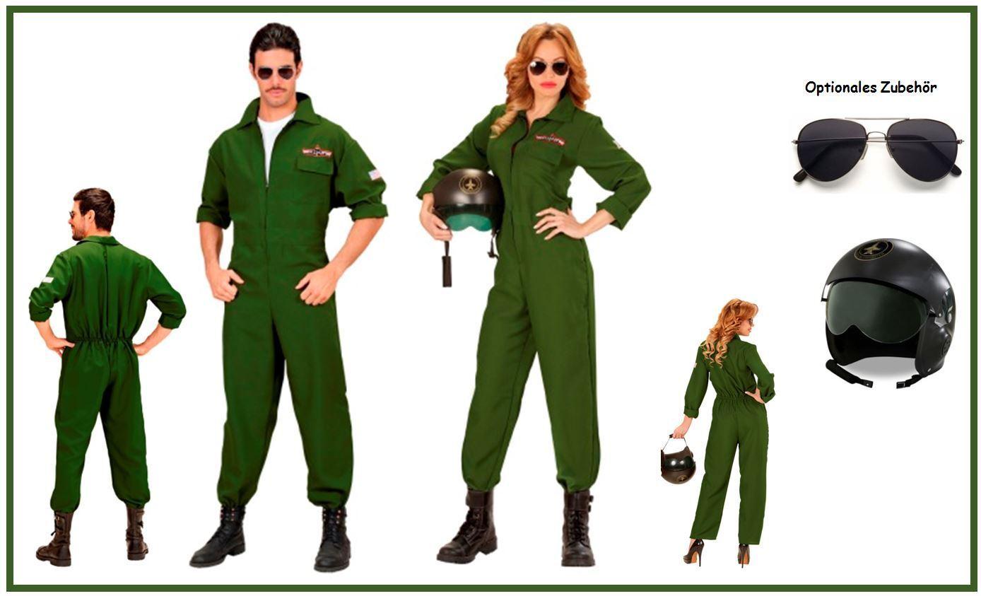 PILOT PILOTIN Classic Kampfjet Partnerkostüm Mottoparty Pilot Jet Karneval, K
