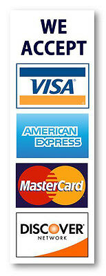 5-pack Credit Card Sign Visa Mastercard Amex Discover Sticker Decal. 2.75 X 8