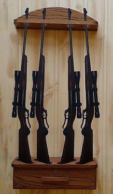 Gun Rack 4-gun vertical Wall Display solid oak ammo cabinet for sale  Franktown